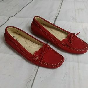 Candy Apple Red Suede Loafers Sz 7.5